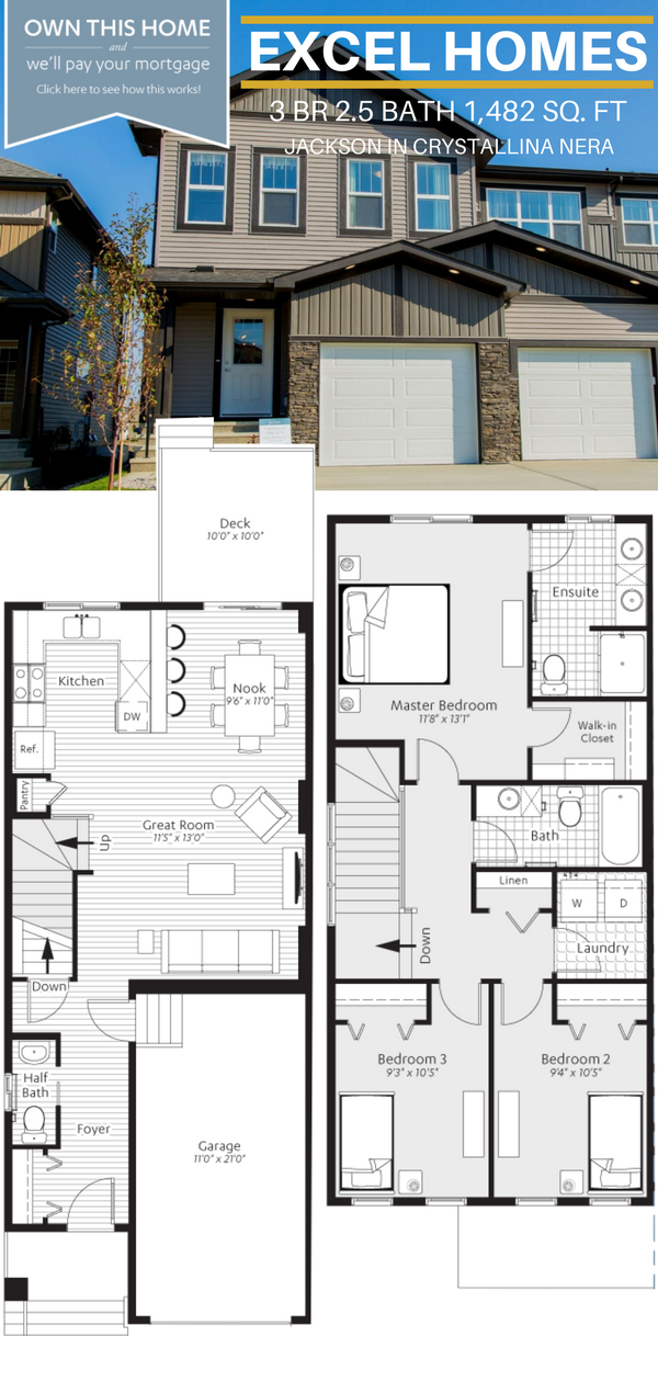 Floor Plans 2 Story Home Jackson By Excel Homes In Edmonton Ab Home Exterior Love Home Exterior Ideas H Floor Plans New Home Builders House Floor Plans