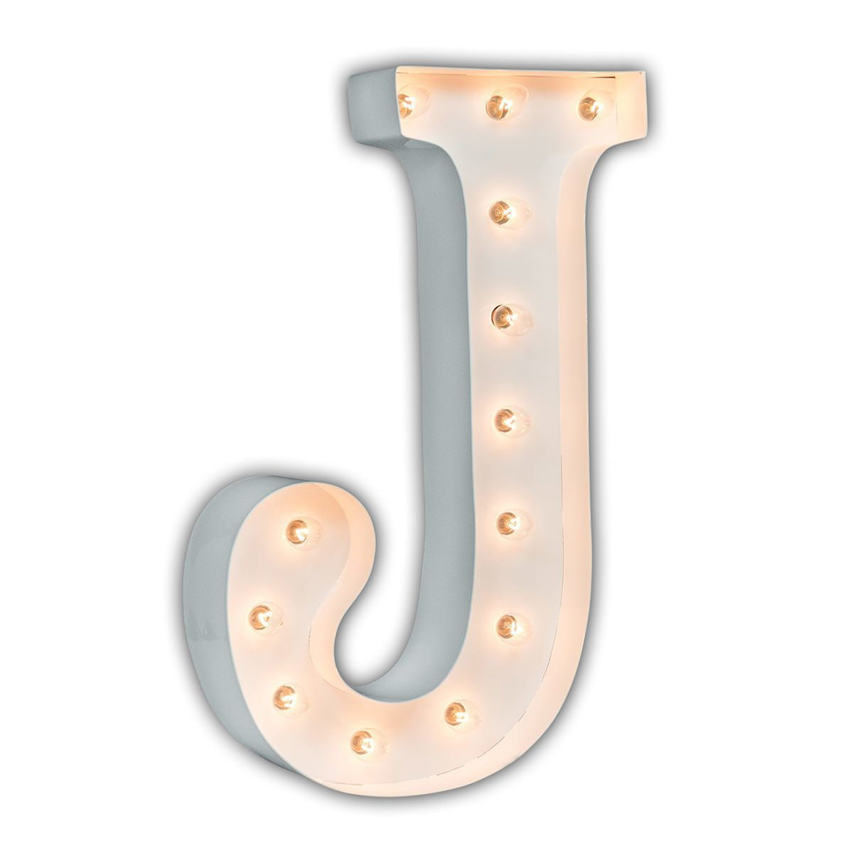 "24 Inch Metal Letters 24"" Letter J Lighted Marquee Letters White Gloss  Marquee"