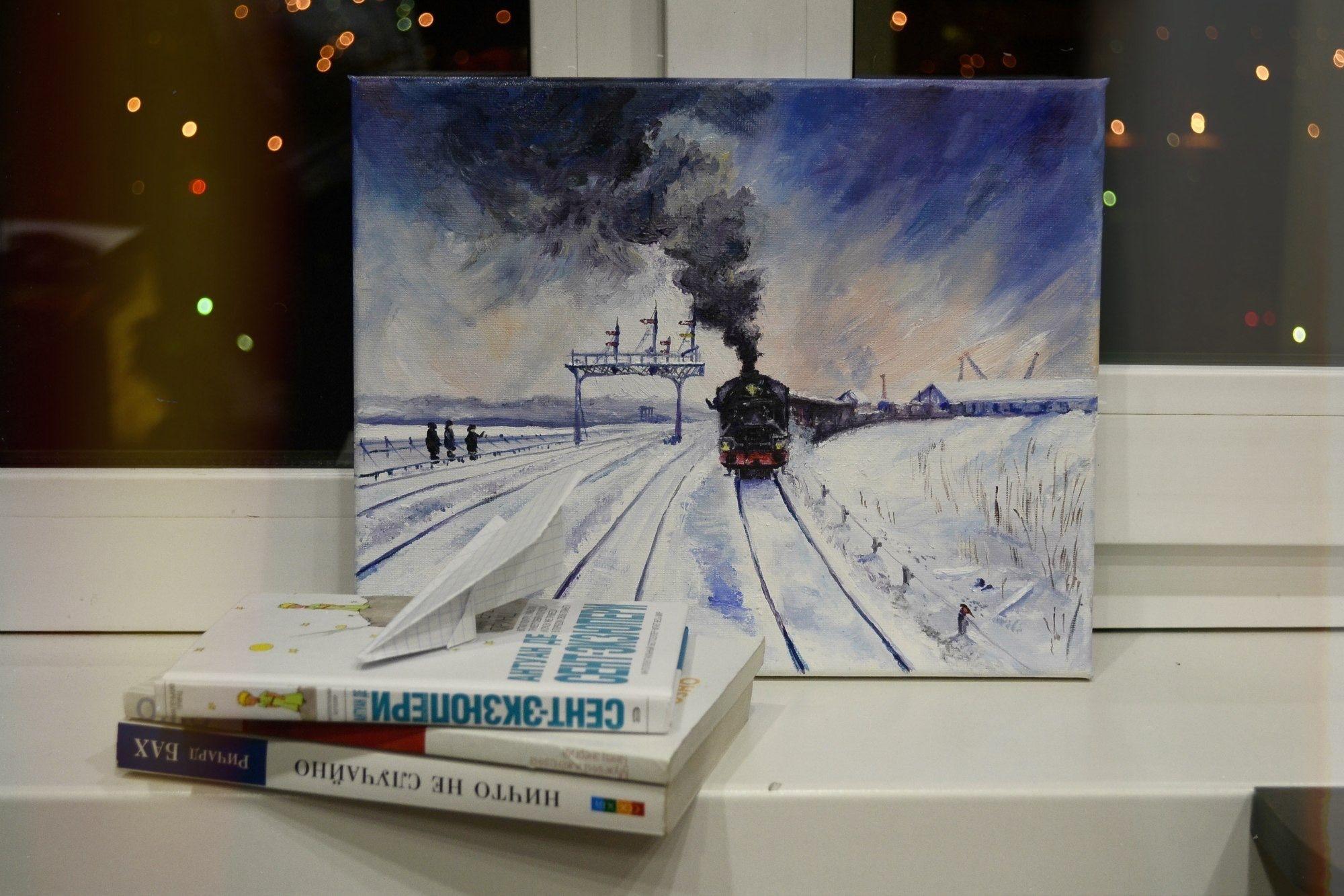 #картина, #масло, #пейзаж, #зима, #паровоз, #поезд, #жд