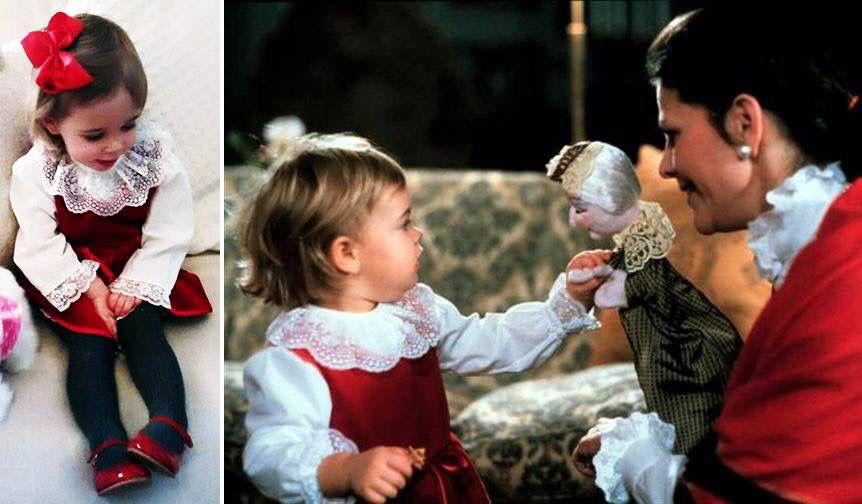 Princess Leonore wearing same dress as princess Madeleine many years earlier. Christmas 2015