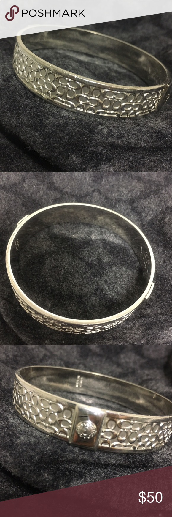 Silver Coach Bracelet Bangle With Signature C Design Some Minor Signs