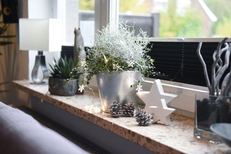 Weihnachtsdeko Fensterbank Innen.Konischer Pflanztopf Campana In Silber Hochglanz Auf Einer