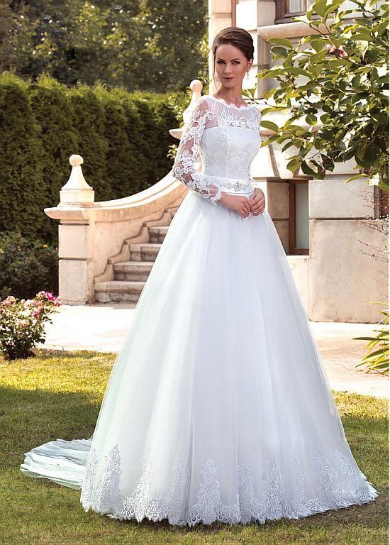 comprar Modest Tulle Bateau A-línea de vestidos de boda con el marco ...