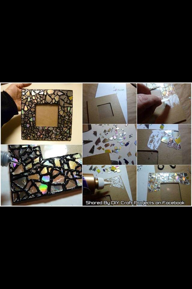 diy cd mosaic photo que faire avec vieux cd pinterest bricolage deco et diy d co. Black Bedroom Furniture Sets. Home Design Ideas