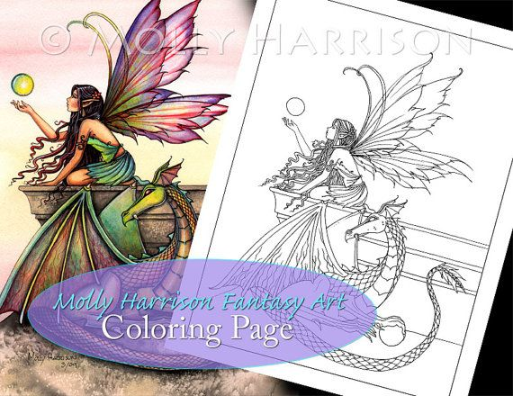 Fairy and Dragon Digital Stamp Printable by MollyHarrisonArt ...