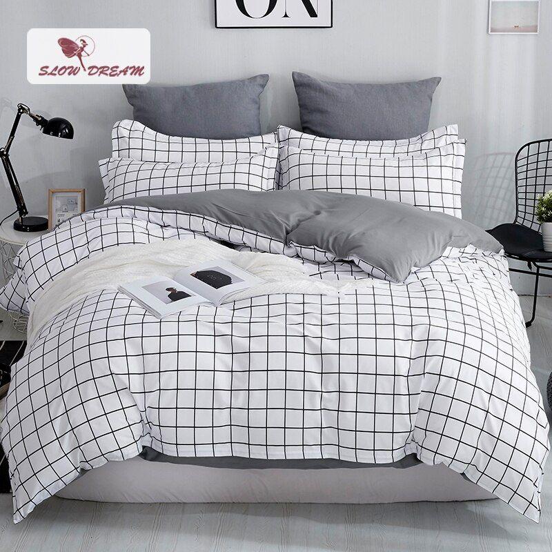 Slowdream Grid Bedding Set Mans Bedspread Comforter Cover Set Bed Linens Euro Bed Sheet Double Duvet Cover Nor Minimalist Bed Sheets Minimalist Bed Bedding Set