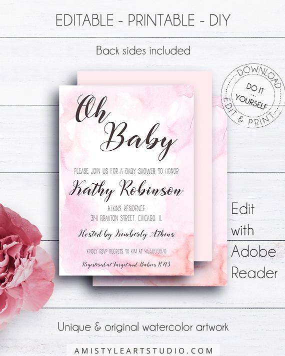 Baby girl watercolor baby shower invitation on a watercolor stain this beautiful baby shower printable invitation listing is for an instant download editable pdf so you can download it right away diy solutioingenieria Choice Image