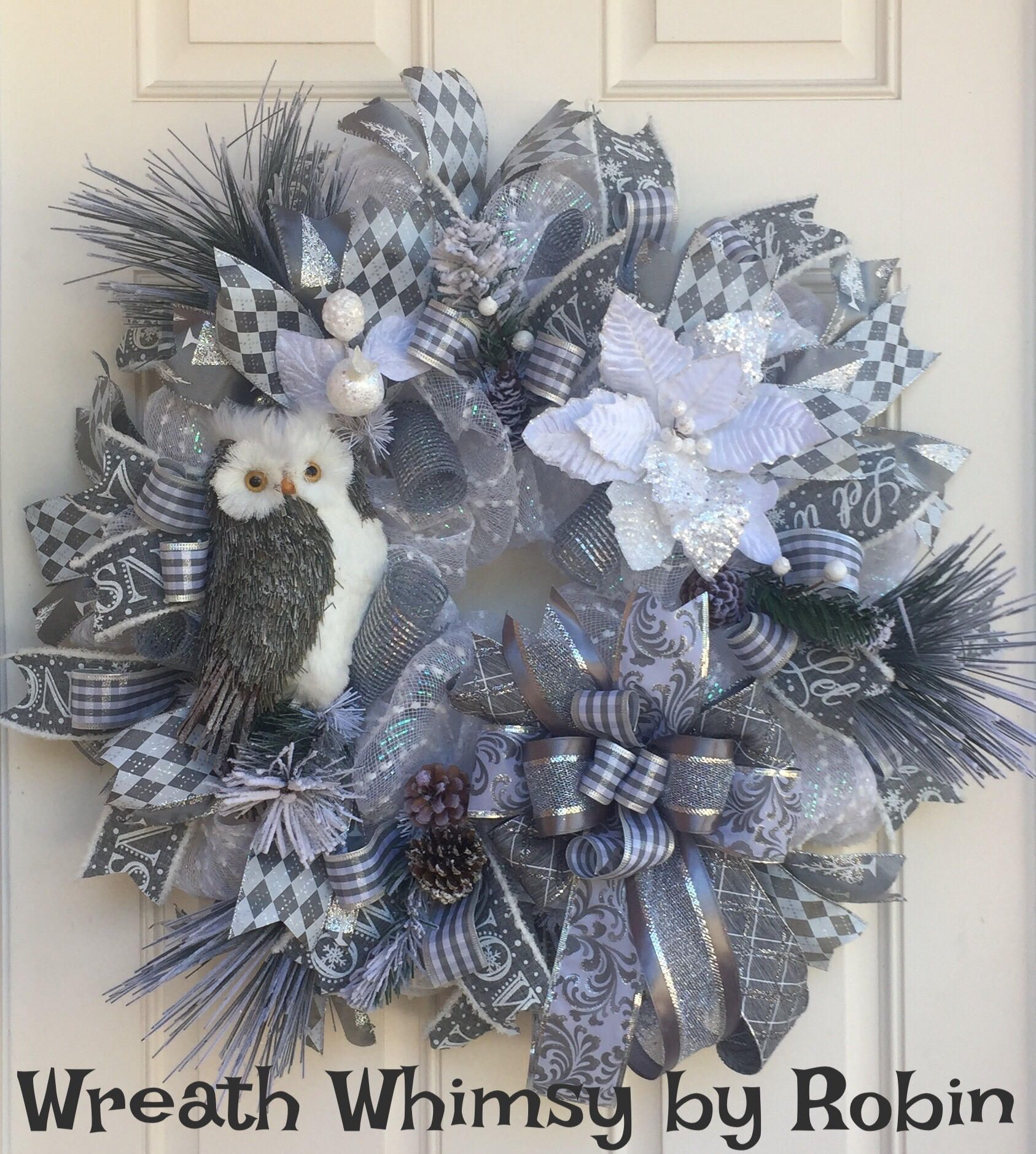 Winter Deco Mesh Owl Wreath In Silver And White Holiday Holiday Wreaths Christmas Wreaths Winter Mesh Wreath