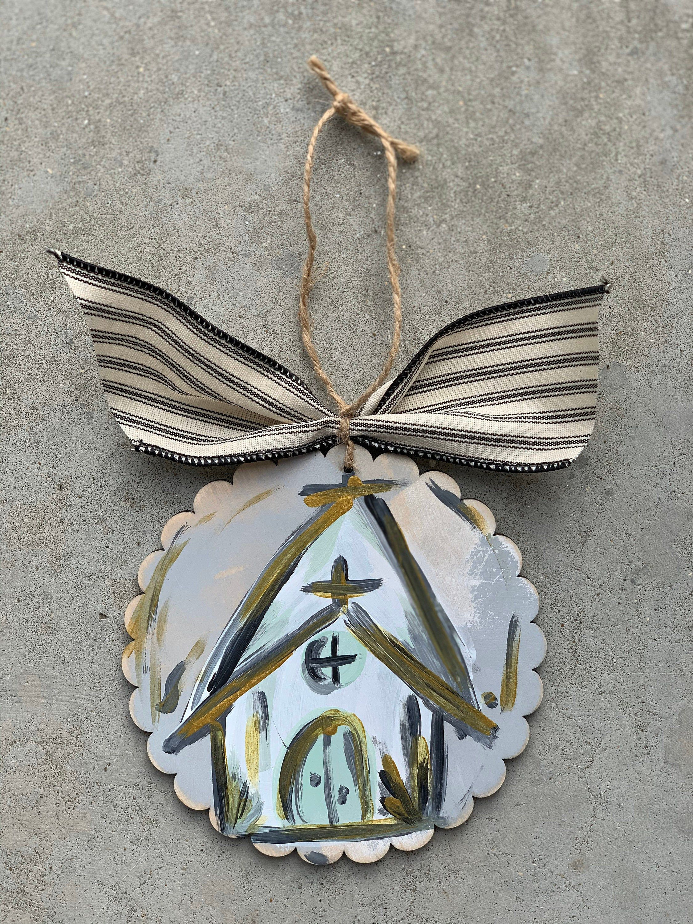 church Christmas ornament // grey, white, and gold #churchitems