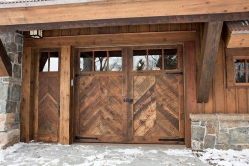 Wide Planked Herringbone Garage Door Wooden Door Entrance Traditional Exterior Shed Design