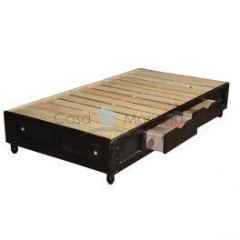 Base para cama individual de madera con 4 cajones y for Base cama individual con cajones