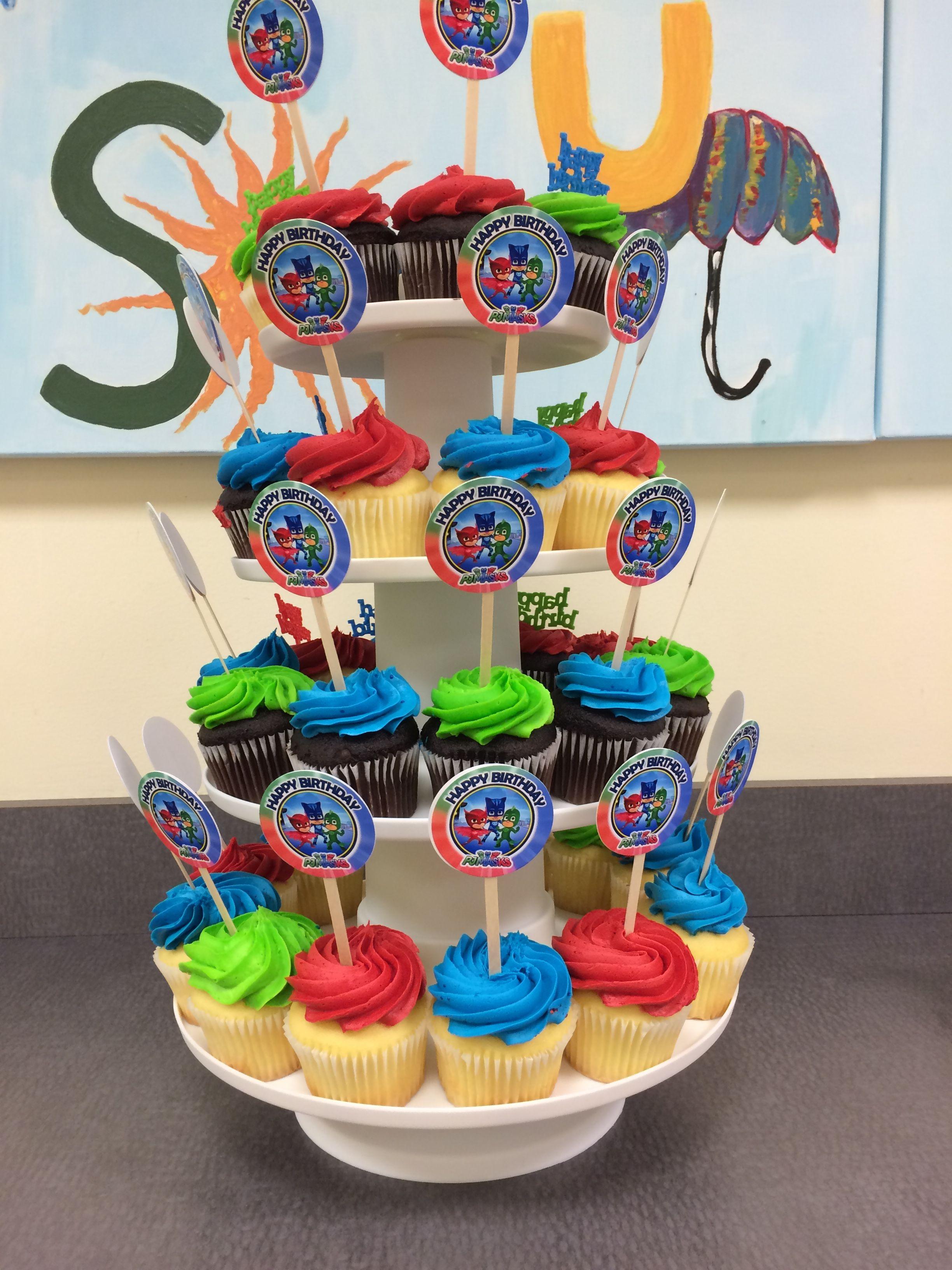 Cupcake toppers happy birthday pj masks birthday party