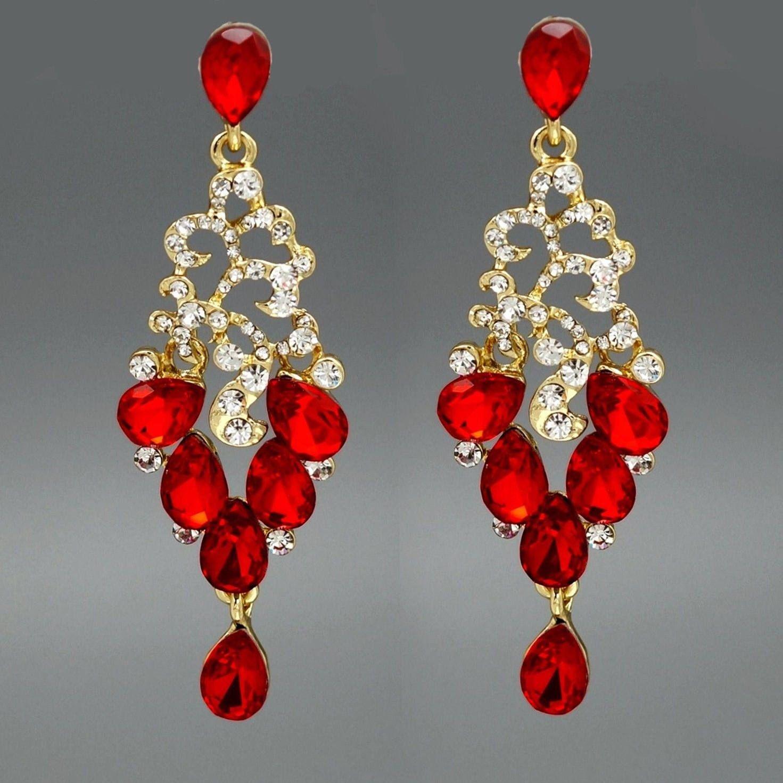 18k gold plated red crystal rhinestone drop dangle chandelier 18k gold plated red crystal rhinestone drop dangle chandelier earrings prom jewelry handmade gift arubaitofo Choice Image
