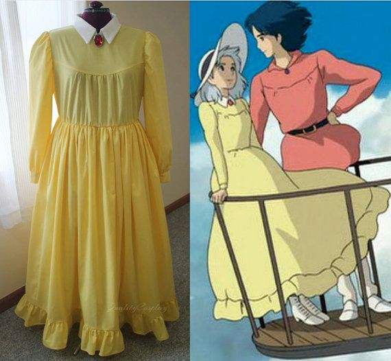 howl's moving castle cosplay, sophie hatter inspired dress, blue