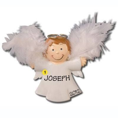 Boy Child Angel Personalized Christmas Ornament