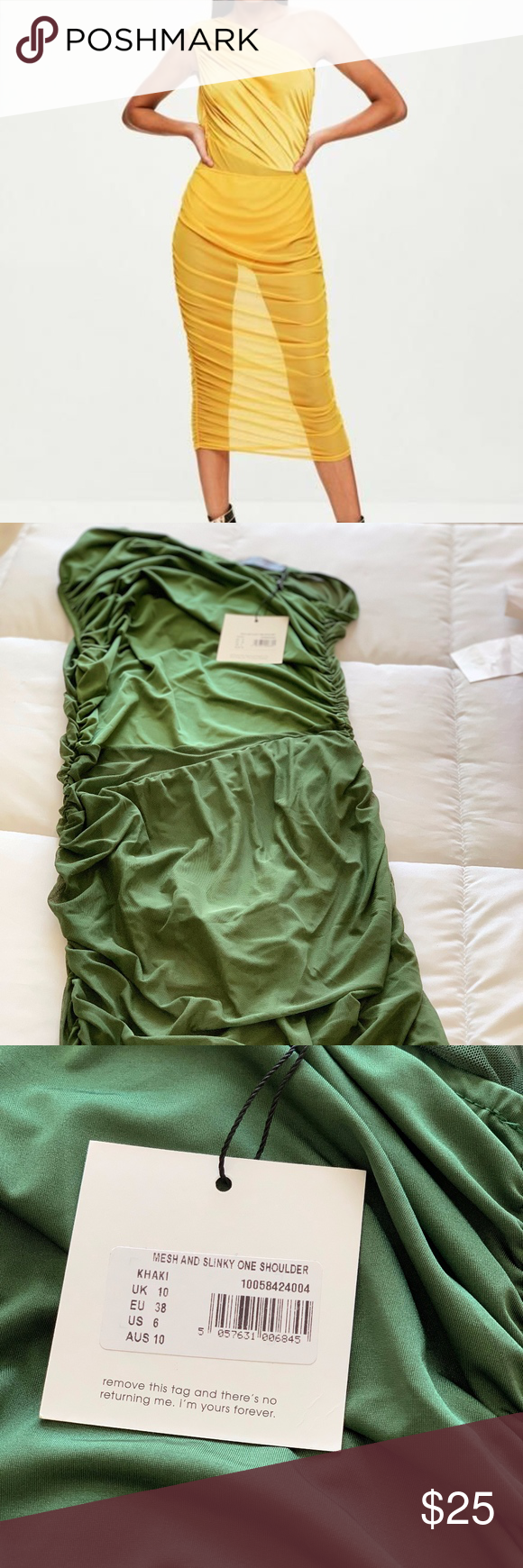 Photo of Missguided Mesh and Slinky One Shoulder Dress NWT still in packaging  color is g…