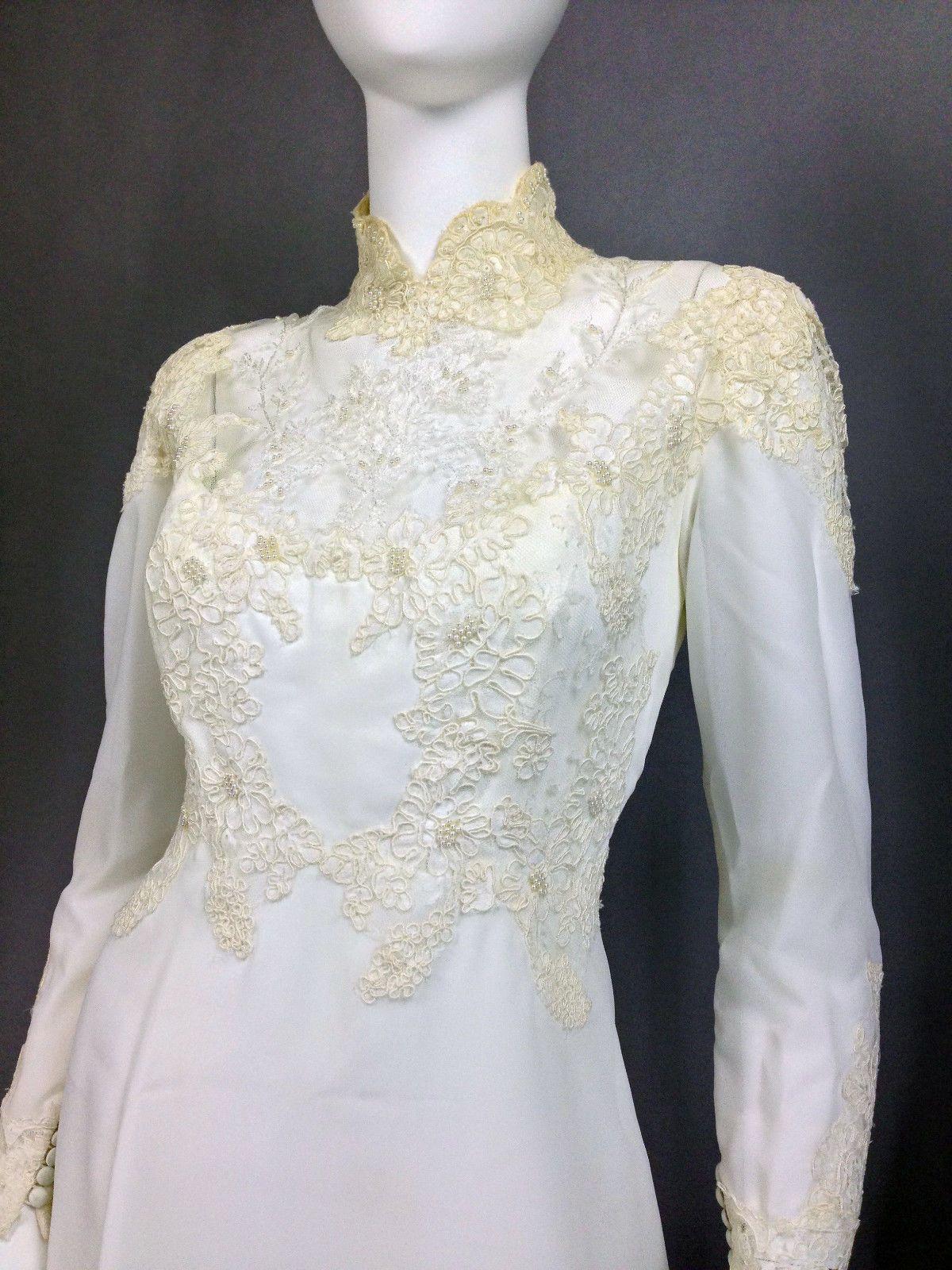 VINTAGE WEDDING DRESS 70s Wedding Dress HIGH NECK Victorian Button ...