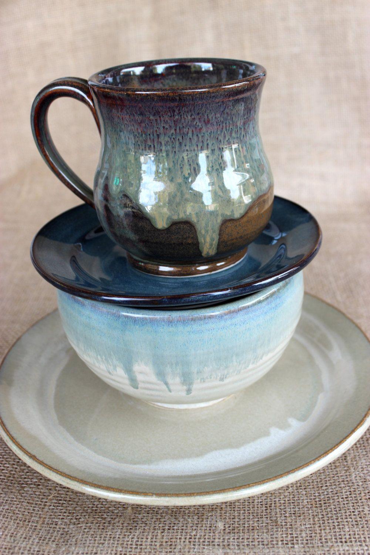 4 piece dinnerware set, Mix and match, Stoneware, Pottery, Wheel ...