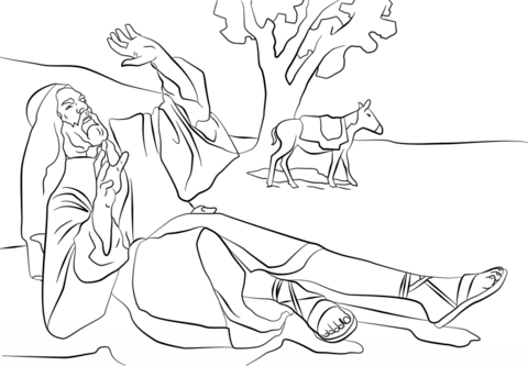 Paul Blinded on the Road to Damascus coloring page from