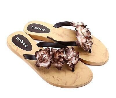 eBay Advertisement Brown Cute Flowers Shape Ladies Flats Summer Womens Sandals
