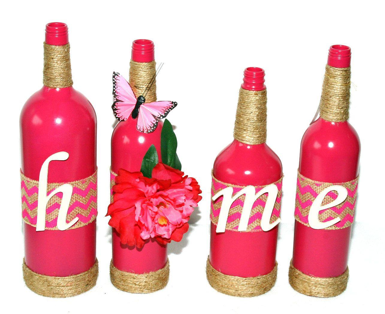 Dark Pink Wine Bottles Home Design Floral Butterfly Upcycled Bottles Handcrafted Magenta Painted Recy Wine Bottle Decor Bottles Decoration Painted Wine Bottles