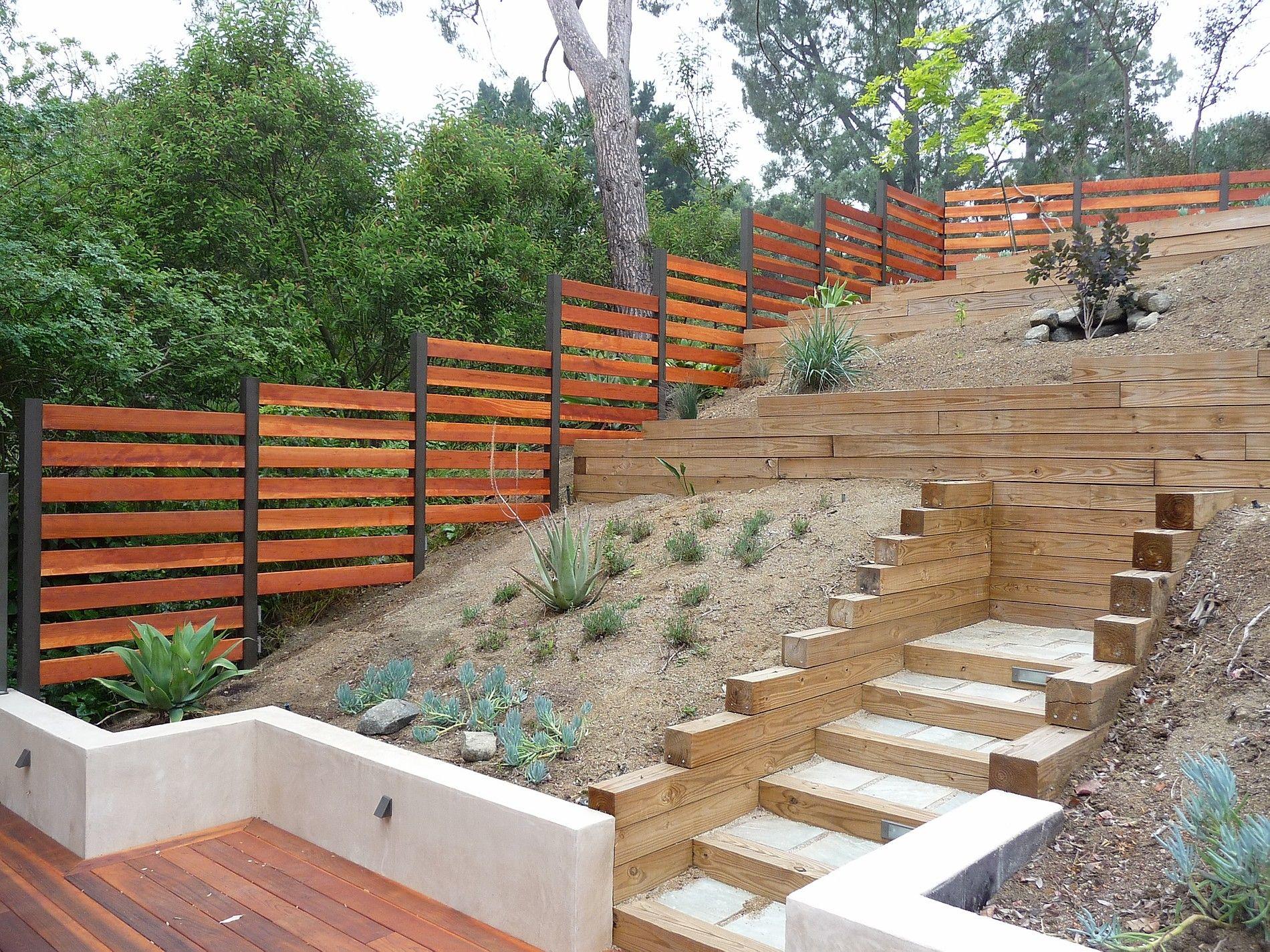 hillside redwood fence tkostructure in 2020 backyard on backyard garden fence decor ideas id=24735
