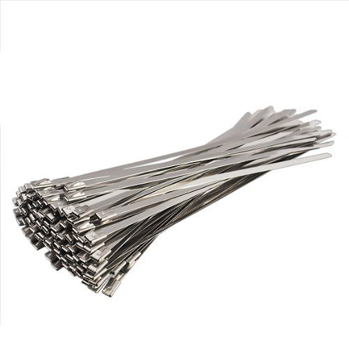 Jocestyle 100pcs Stainless Steel Exhaust Wrap Coated Locking Cable Zip Ties Wrap Coat Stainless Steel Cable Tie