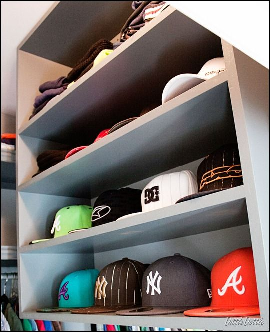 50531c893c3 MDF-Shelving-Unit for Hat display in closet. Could take this and put some  LED lighting inside  ) Chases room