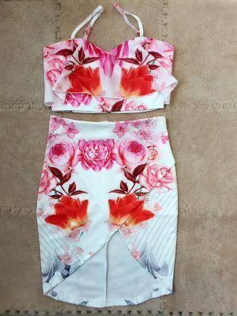 3ebd2076f60 Letní dvoudílné šaty s květinovým vzorem - POŠTOVNÉ ZDARMA