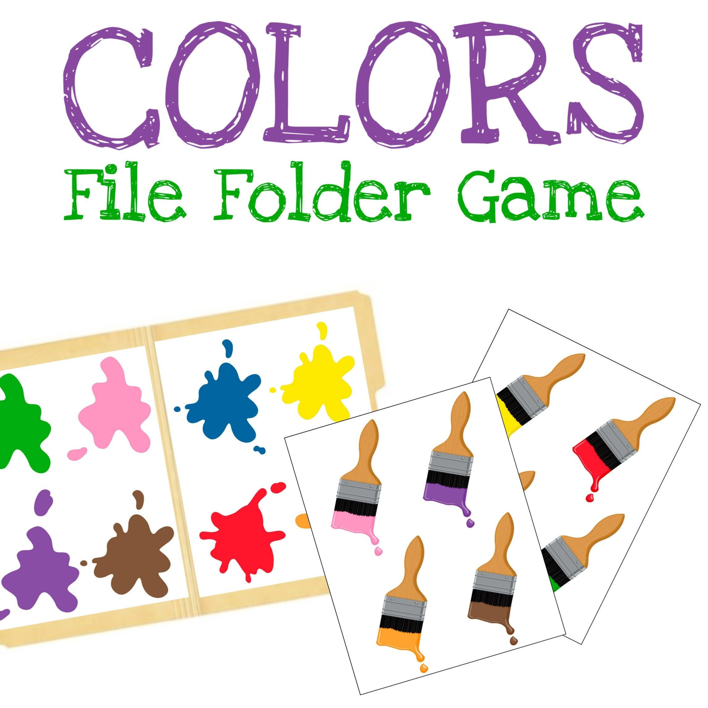 Matching Paint Colors File Folder Game for Kids Preschool