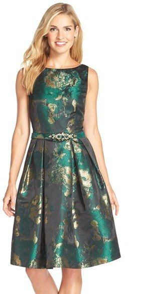 Women s Eliza J Metallic Jacquard Fit   Flare Dress  9d089cc9c