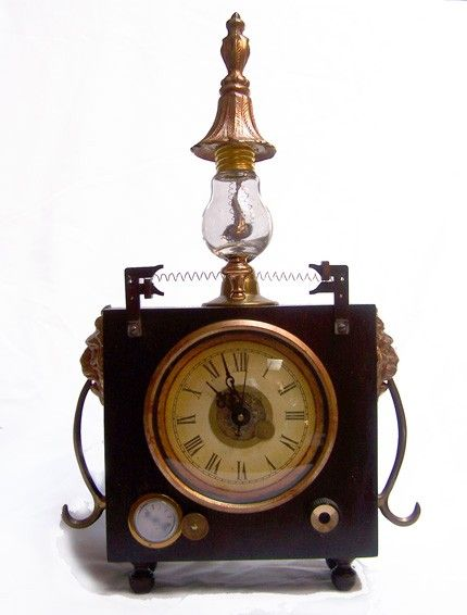 Steampunk mantel clock