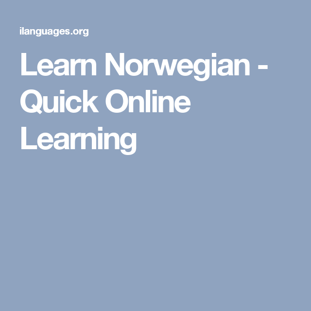 Learn norwegian online