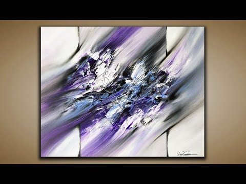 Quick demo of abstract painting in acrylics colors light blue violet dioxazine purple black and white canvas welcome to my channel