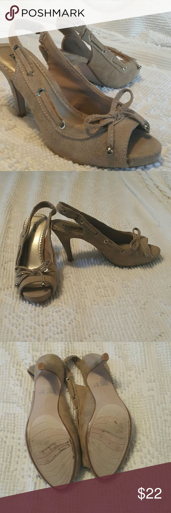 Pretty Tan/Beige Heels Very cute size 8.5 tan heels with bow and heel strap. Feels like a suede-like material. Only worn twice for just a little while. As you can see in the pictures, the only wear is some mild scuffing on the bottoms. Goes with almost any outfit! Super cute! Dexter Shoes Heels