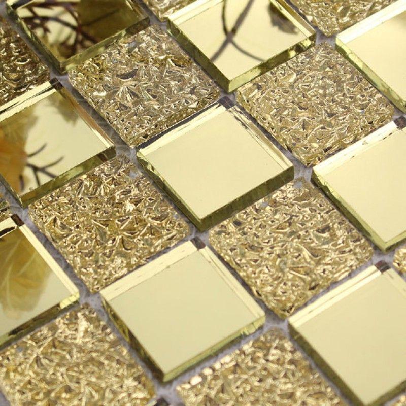 Gl Mirror Mosaic Tile Sheets Gold