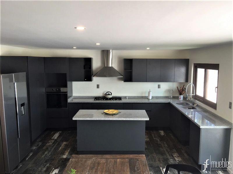 Muebles de cocina en melamina de 18mm gris grafito, cubierta ...