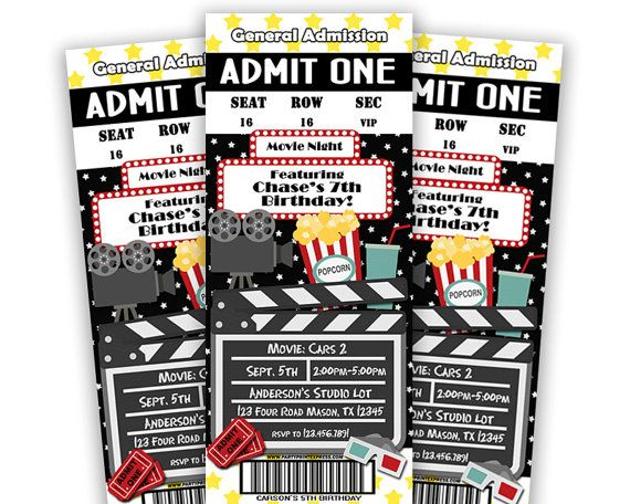 Printable Movie Ticket Invitation Movie Birthday Party Brookes - movie ticket invitations printable free