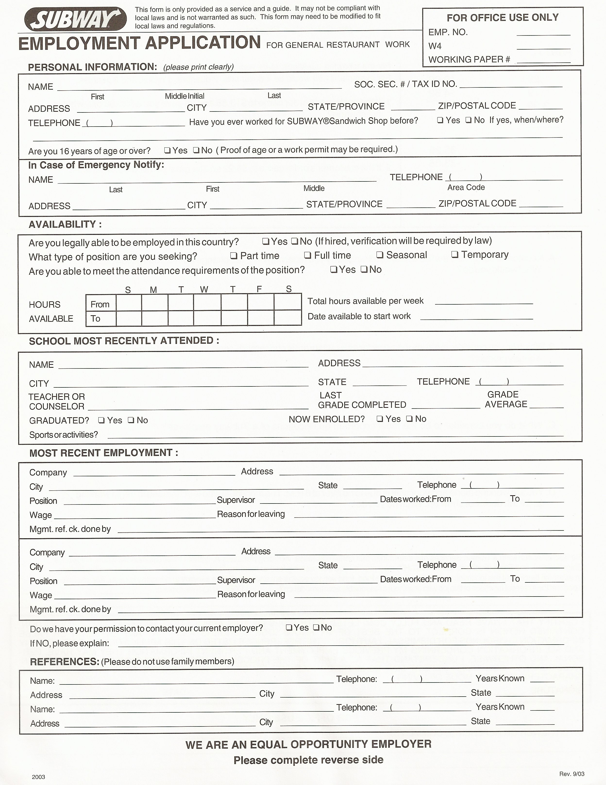restaurant employment application form how to make an effective