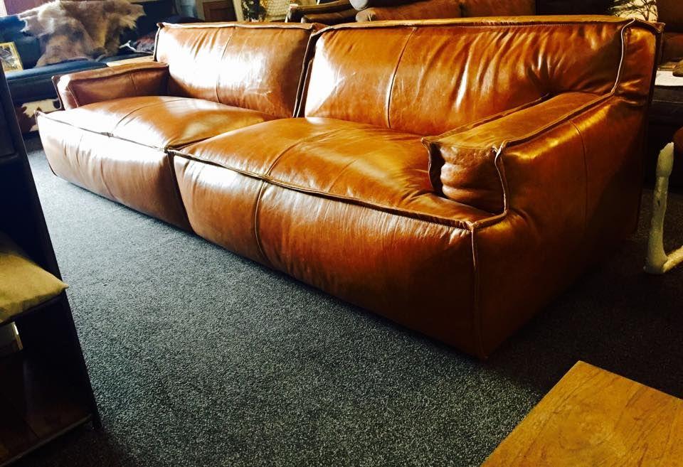 lounge bank le noir met super fort in prachtige cognac leder