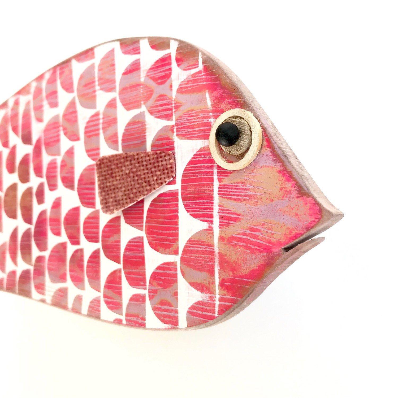 Fish Large Wooden Fish Painted Fish Wall Decor Tropical Etsy Fish Painting Wooden Fish Fish Wall Art