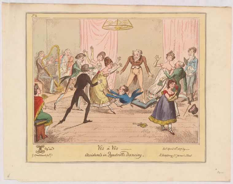 Vis à vis - accidents in quadrille dancing 1817. From New York Public Library Digital Collections. Image ID 5271484. (Other way, Mr. Collins!)