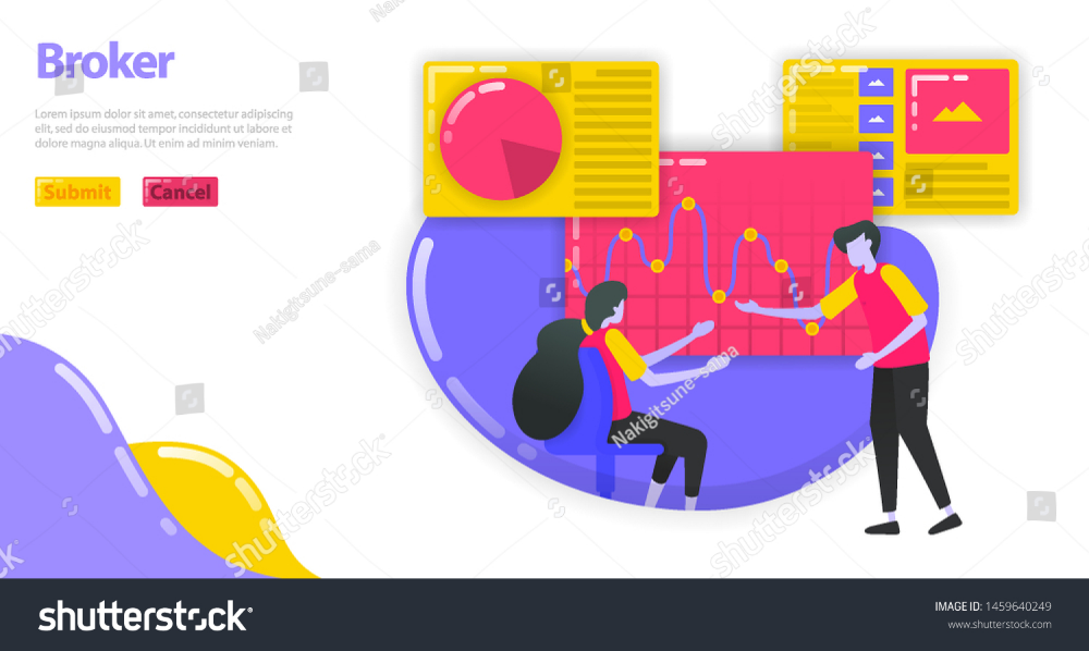 Illustration of an investment broker People are reading and analyzing chart to choose stock and money market investment Investment manager gives advice Flat vector concep...
