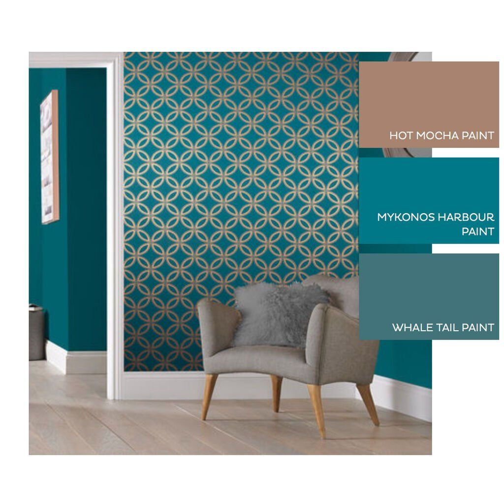 Eternity Teal And Copper Wallpaper In 2020 Teal Bedroom D