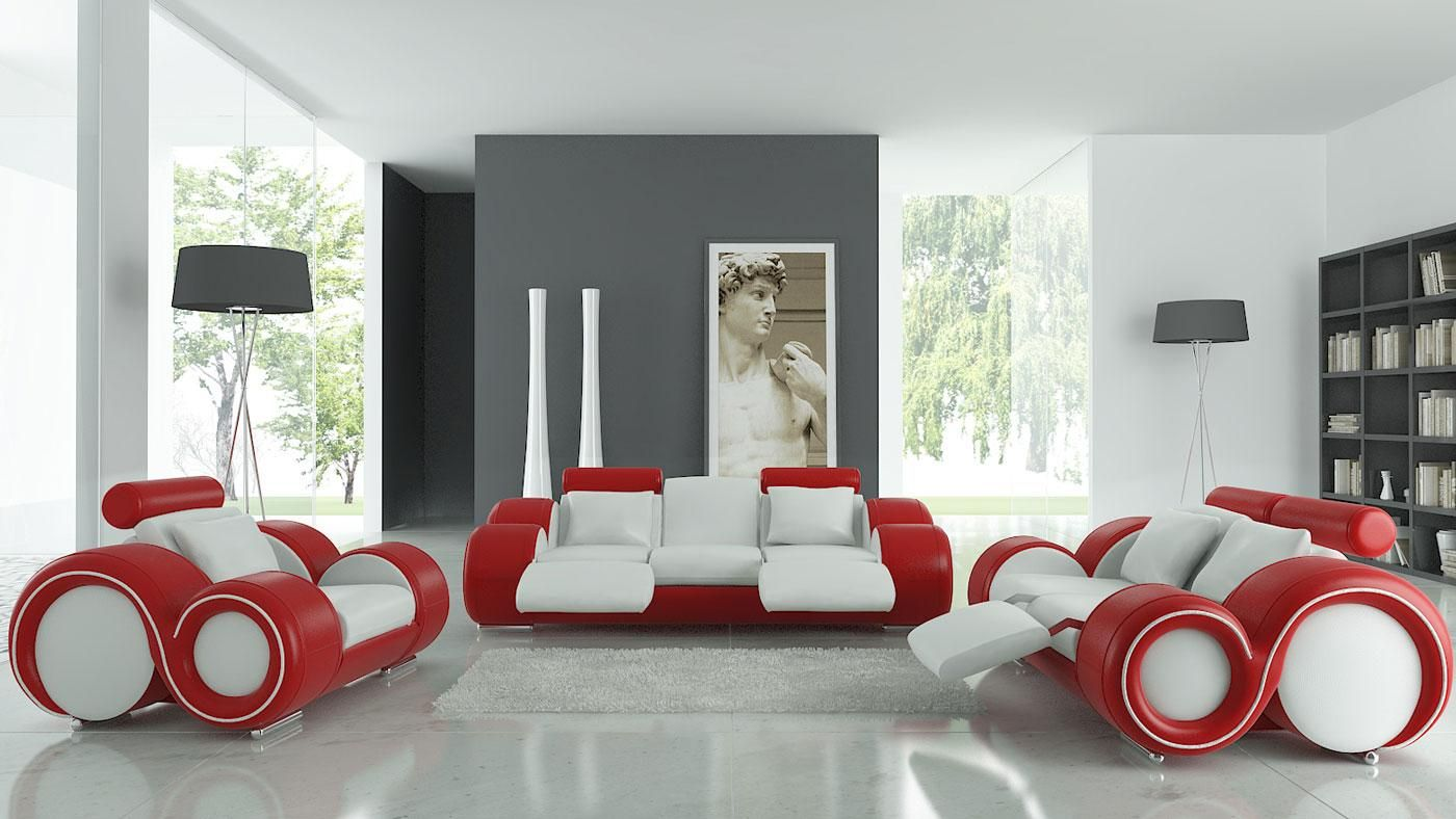 Interior, Modern Red And White Living Room Design With Stunning Couch Sofa  In Red White