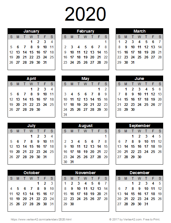 2020 Printable Yearly Calendar.2020 Calendar Templates And Images 2020 Calendar Template