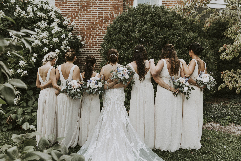 Rebecca S Bride Katie Wearing Essense Of Australia D2432 Bridesmaids Wearing Bill Levkoff Styl Glamourous Wedding Dress Wedding Dresses Wedding Dress Shopping