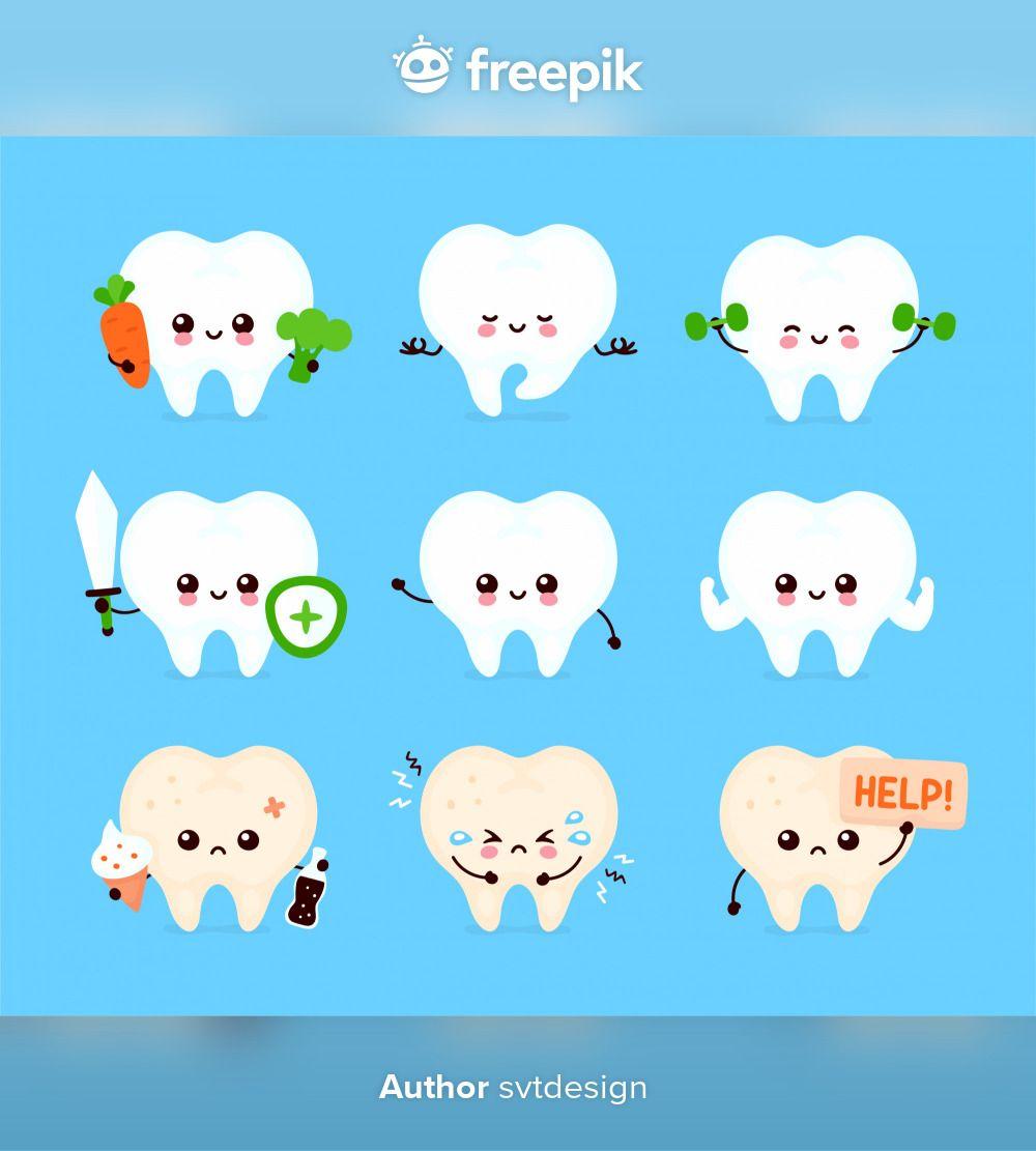 23+ Cute Human Tooth Set. Healthy And Unhealthy Human Organ