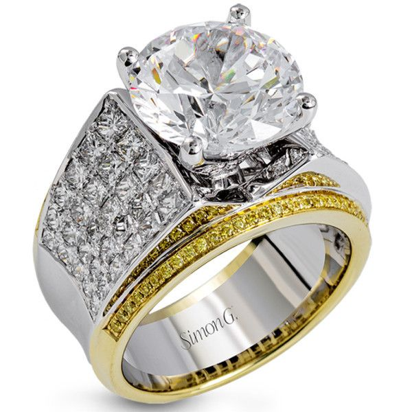 "Simon G. 18K White & Yellow Gold Large Center ""Simon Set"" Diamond Engagement Ring with White Princess & Round Diamonds & Natural Yellow Diamonds. Style MR2686"