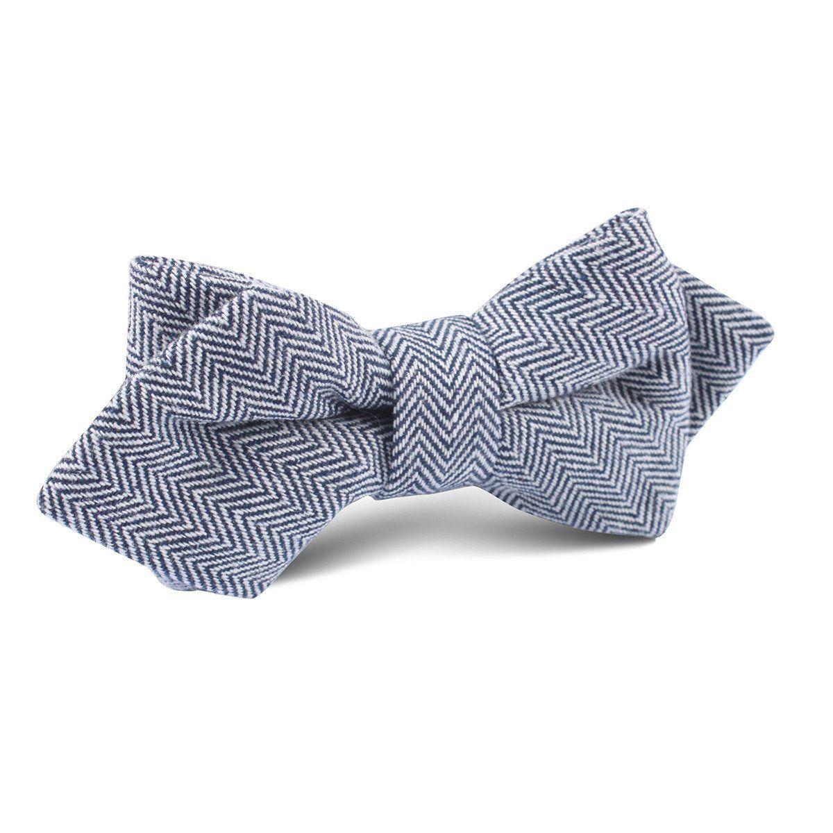 ff33a51bb2e8 Navy Blue Herringbone Linen Diamond Bow Tie | Men's Tuxedo Suit Diamond Bow  Ties for Men